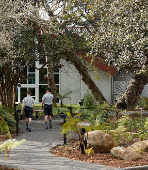 Students discovering the new walkway and planting ( Photo from St Paul's Collegiate)