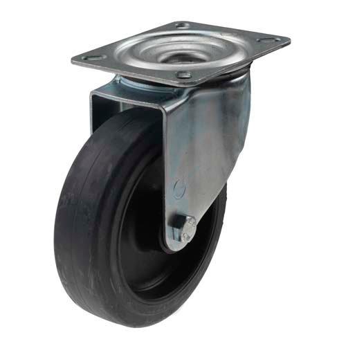 Teollisuuspyörä 160 mm elastinen umpikumi kääntöpyörä