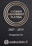 Rengastalo Oy Suomen vahvimmat platina sertifikaatti 2007 – 2019