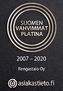 Rengastalo Oy Suomen vahvimmat platina sertifikaatti 2007 – 2020