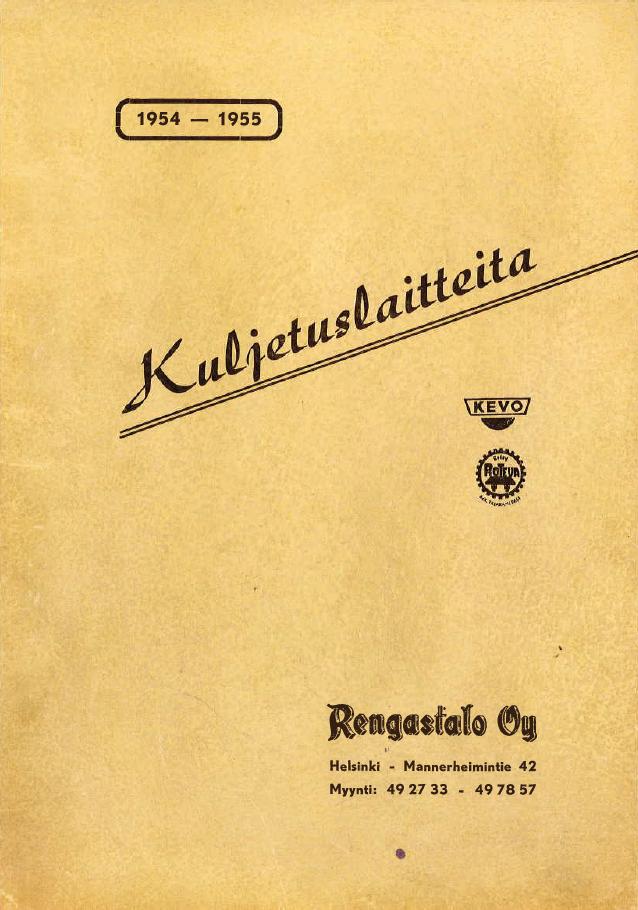 Rengastalo esite vuodelta 1954 kansi