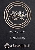 Rengastalo Oy Suomen vahvimmat platina sertifikaatti 2007 – 2021