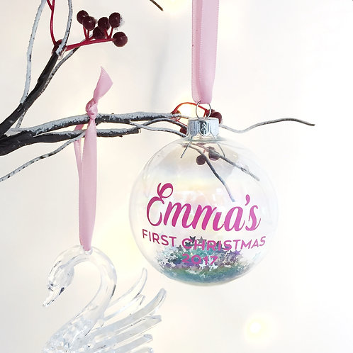 Baby girl first christmas bauble.