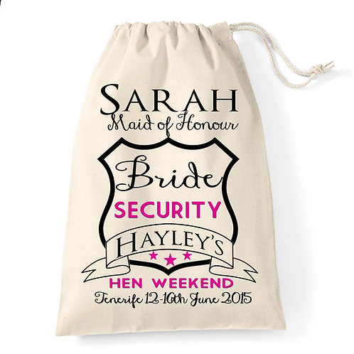 Bride Security Hen Party Gift Bag