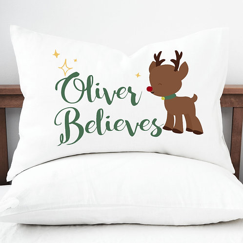 Personalised pillow case cute reindeer.