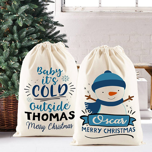 Personalised Santa Sack , Snowman OR Cold ouside design.