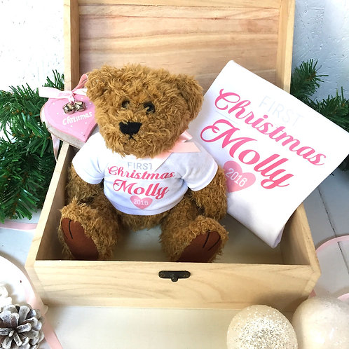 Baby girl's First Christmas teddy and babygrow gift set