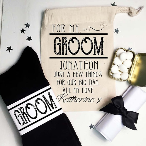 Groom Pre Filled gift bag socks mints hanky