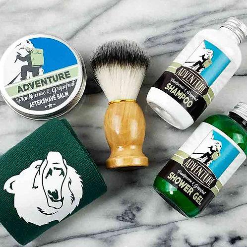 Adventure 5pc Gift Set, Socks, Shower Gel, Aftershave Balm, Shampoo and Brush