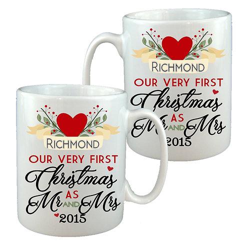 Mr & Mrs First Christmas Mug Gift Set