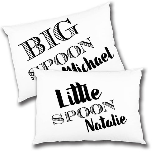 Big spoon little spoon pillow case set