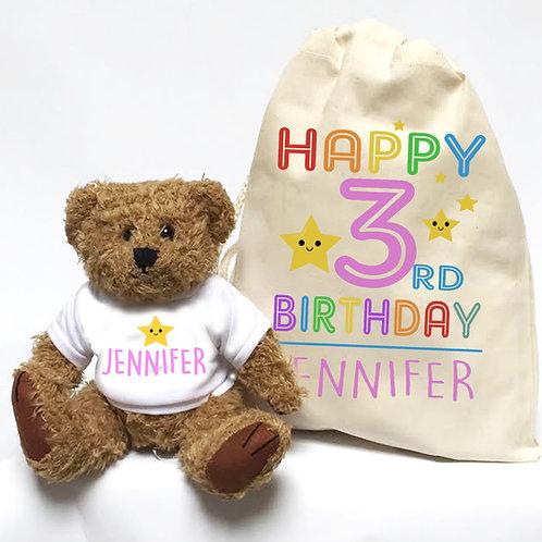 Birthday teddy bear girl or boy rainbow.