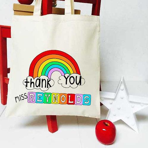 Personalised Rainbow nursery teacher tote bag