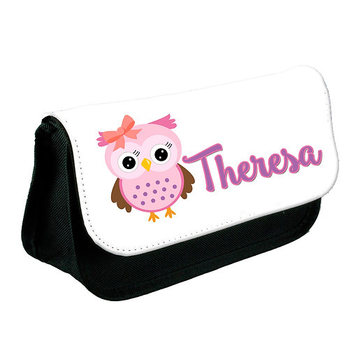 Pencil case pink owl design.