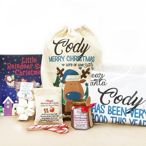 Blue Reindeer Christmas Eve Pre-filled treat bag.