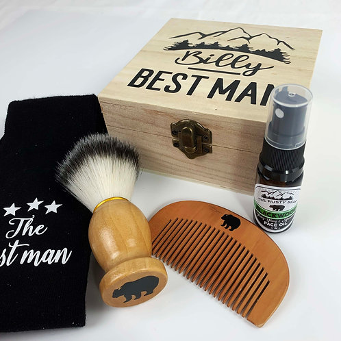 Best Man Wooden Box Wedding Morning Gift Set