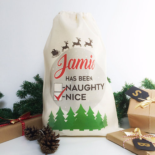 "Personalised Christmas gift bag "" NAUGHTY OR NICE """