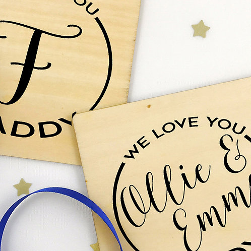 Personalised Wooden Coasters Fathers Day Gift Set