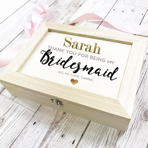 Bridesmaid wedding day gift box.
