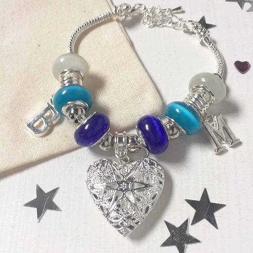 Something Blue Personalised Locket Charm Bracelet