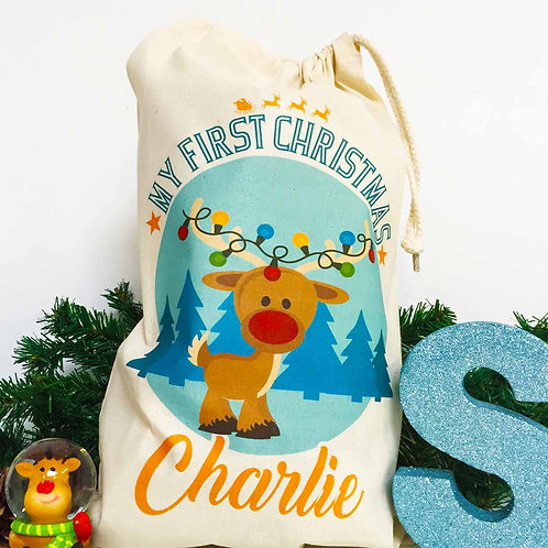 "Personalised Christmas gift bag "" Baby's First Christmas Reindeer """