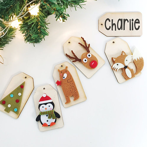 """Personalised wooden Christmas tags """" WOODLAND """" collection"""