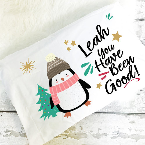 Penguin personalised pillow case Christmas Eve gift