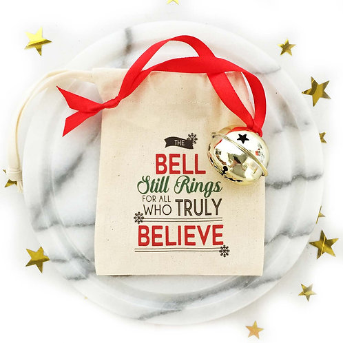 Magic Believe in Christmas Bell decoration with gift bag.