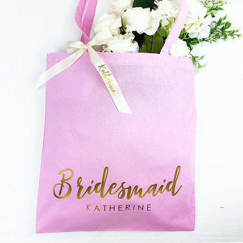 Bridesmaid Tote Bag and Ribbon