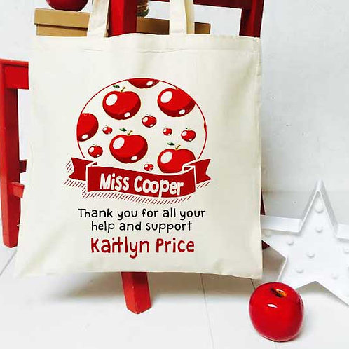 Personalised Apple + Banner teacher tote bag