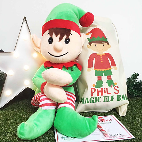 Giant Cuddly Elf & Personalised Gift Bag