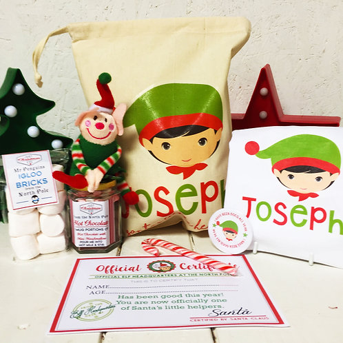 Personalised Boy Elf Christmas Eve pre filled gift set