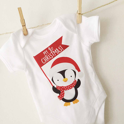 My First Christmas Penguin babygrow