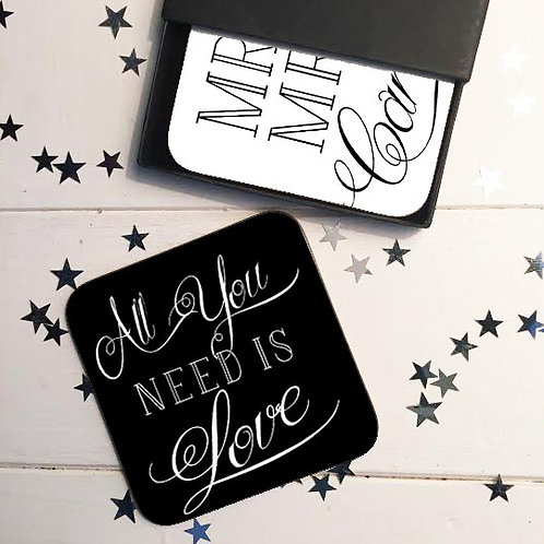 All you need is love wedding coaster gift set