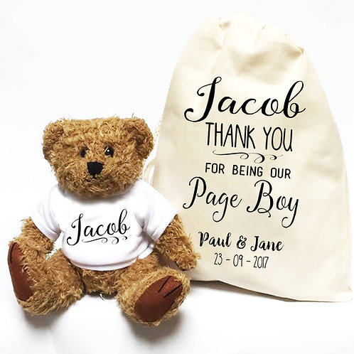 Thank you Page Boy Teddy Bear Wedding Gift