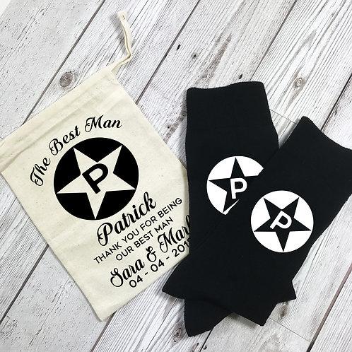 Personalised Monogram Star Best Man Socks
