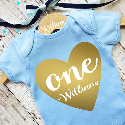 Baby boy first birthday baby grow and wooden hanger set.