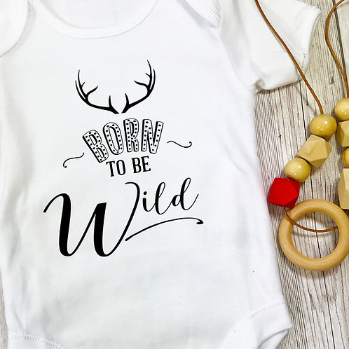 Born to be Wild Baby Grow and Wooden Teething Necklace