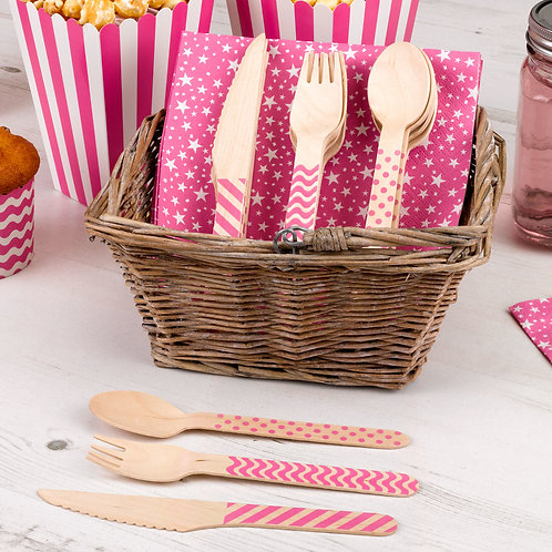 Pink hen party wooden cutlery set.