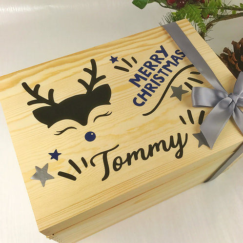 Wooden Christmas Box 31cm Blue Personalised