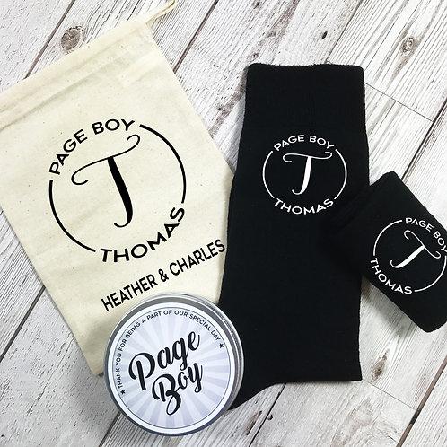 Page Boy Mongram Personalised Socks, Tin and Bag