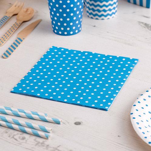 Blue polka dot paper napkin.