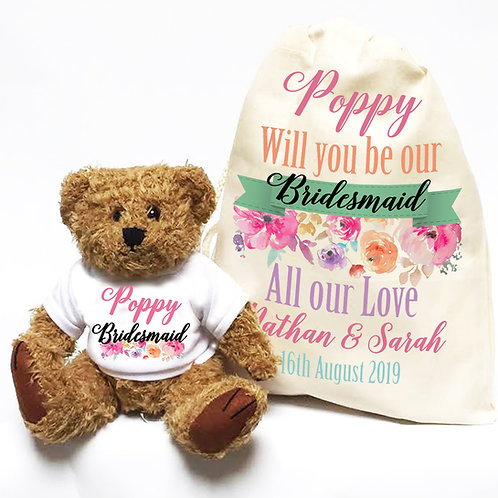 Will you be our Bridesmaid teddy bear with gift bag set.