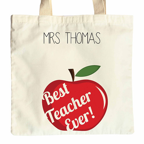 Best Teacher Ever Apple Tote Bag