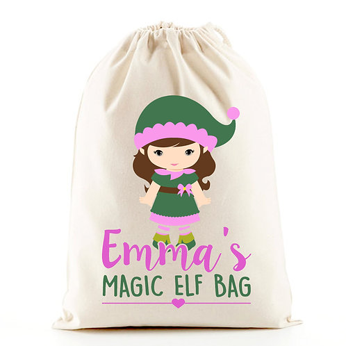 Magic Elf girl Christmas gift bag sack.