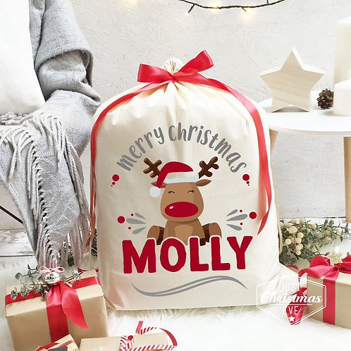 Personalised Cotton Christmas Sack | Red Reindeer.