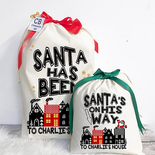Santa's on His Way Christmas Eve Bag and Sack