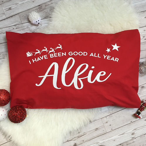 Personalised Christmas pillow case.
