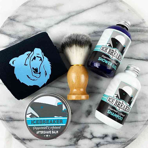 Icebreaker 5pc Gift Set, Socks, Shower Gel, Aftershave Balm, Shampoo and Brush