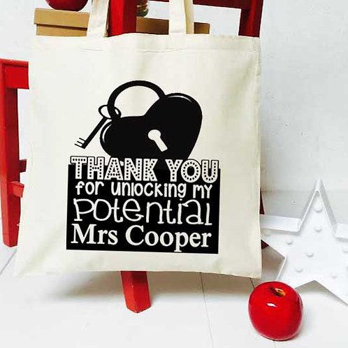 Personalised unlocking potential teacher tote bag